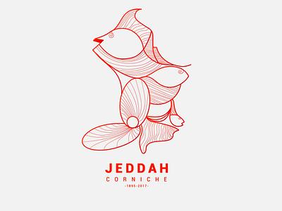 Jeddah Corniche icon arabic simple minimal colors vector red illustration saudi arabia corniche sea jeddah design