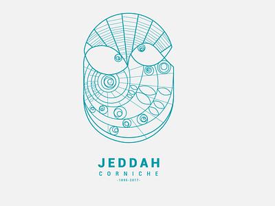 Jeddah Corniche arabic colors minimal vector simple fish blue drawing illustration mecca saudi arabia red sea sea jeddah design