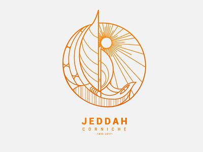 Jeddah Corniche icon vector design minimal simple illustration boat yellow sea jeddah