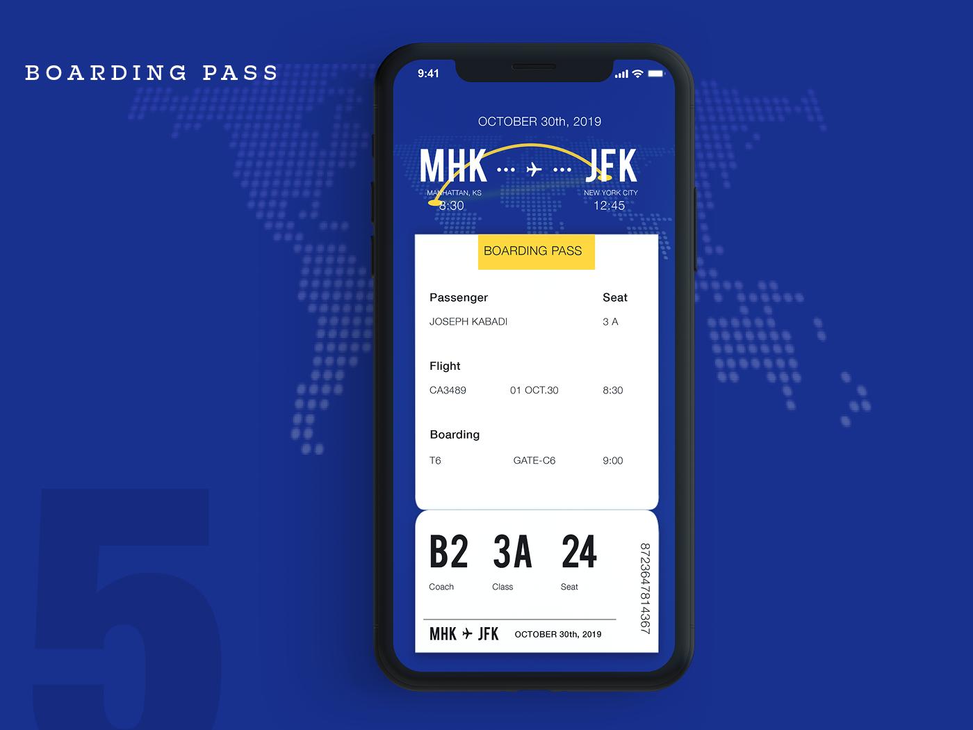 Boarding Pass screen icon web app user interface screen design ios ui design ux illustration ui design boardingpass