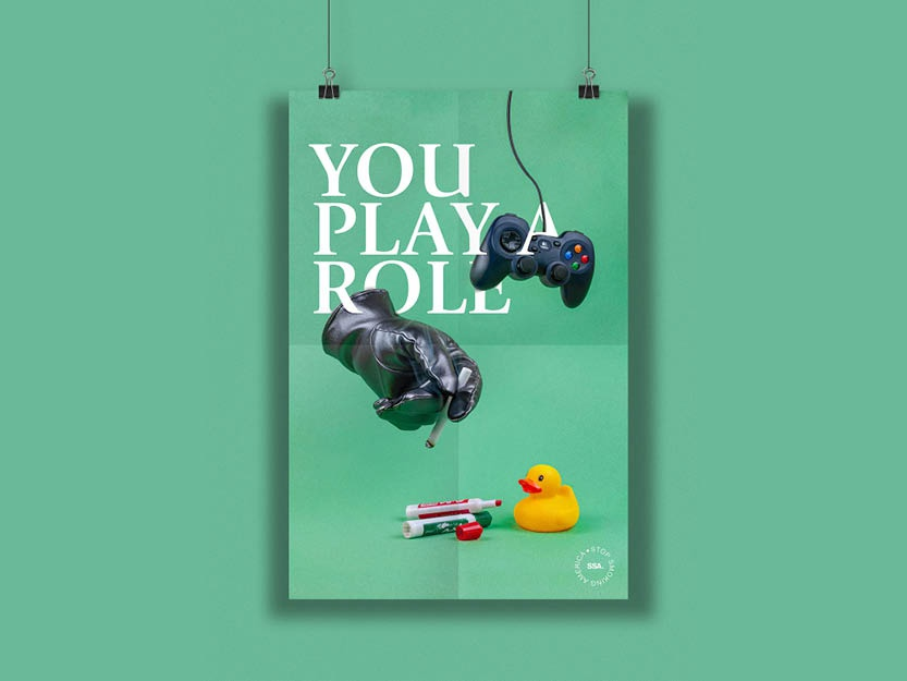 You Play a Role poster series secondhand kids environment art design typography poster a day poster challenge poster art poster role model duck gaming green smoking smoke hands