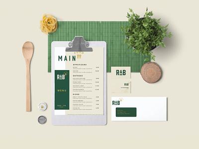 RAB visual Identity green vector logo illustration identity branding typography brand design restaurant bar stationary