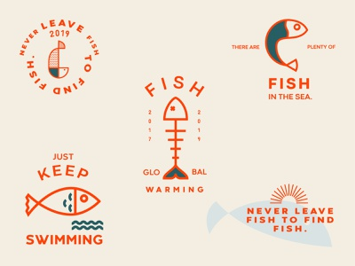 Fish Icons minimal simplicity simple typogaphy type vector icons pack icons icon orange sea fish logo fish illustration