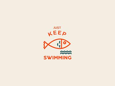 Fish   just keep swimming illustrations illustration icon design typography orange simple fish iconset icons