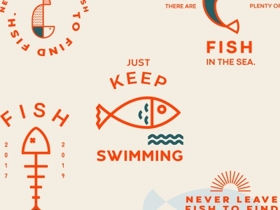 Fish Icons design identity colors brand fish bowl drawing illustration simplicity simple minimal orange icons pack iconset icons logo fish