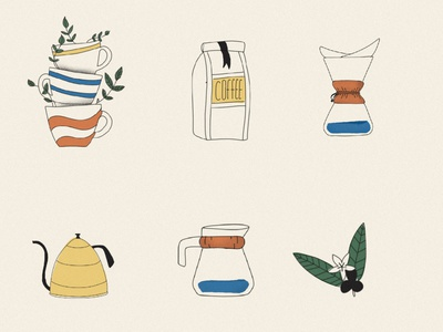 coffee illustrations illustration vector logo coffee shop iconset icons branding illustrator cc illustrations cafe pourover leafs chemex cups coffee bean beans coffee
