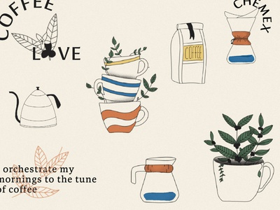 coffee Illustrations beans coffee bean love leaf chemex identity poster arabic icon minimal cup vector brand design illustration coffee
