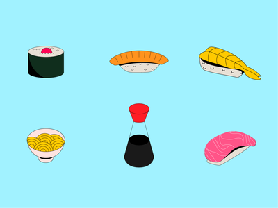 Sushi and stuff simple icon illustration vector design bowl bowls sushi roll japan asian food noodles ramen soya sushi