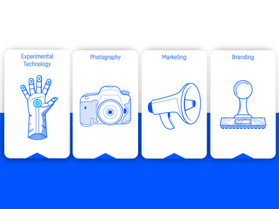 Capabilities Cards 03 camera glove stamp horn icons technology experimental experiential branding videography photography marketing