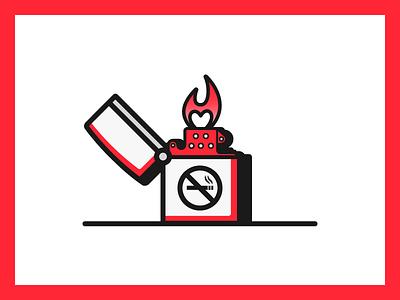 Zippo flame bic illustration vector border gradient fire lighter line red contrast zippo