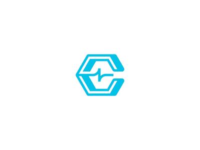 Unused C Logo monotone simple minimal hexagon hex ar vr ekg biometrics grid vector logo