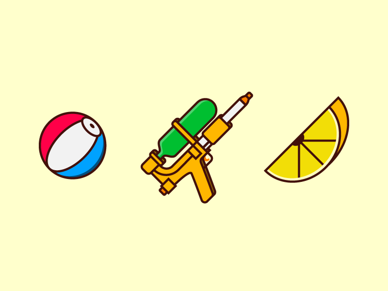 Summer Icons 03 super soaker beachball sun drinks lemonade lemon water gun squirt ball beach cartoon