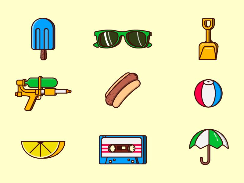 Summer Icons First 9 illustration squirt gun parasol umbrella cassette lemon beachball hotdog shovel trowel sunglasses popsicle