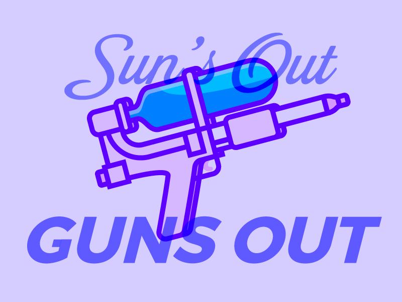 Sun's Out, Guns Out super soaker water pistol squirt gun line cartoon purple illustration vector water gun sun overlay