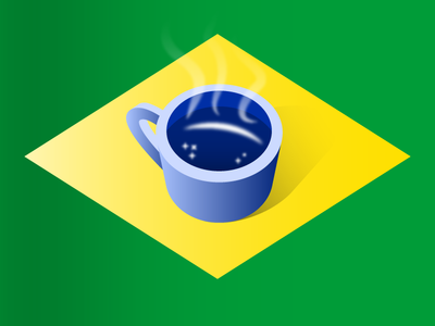Café e Progresso espresso shadow vector gradient stars isometric cup flag café coffee brazil stickermule