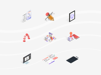 Services Isometric Icons 2018 monitor vector branding ui ux wacom illustrator packaging pencil icon design isometric
