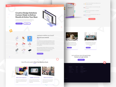 Website Redesign virtual reality design service site design ux ui landing page isometric homepage shapes clean web vr illustration