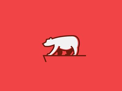 Bear on the Edge - Monoline clean monochrome vector melting ice caps endangered sigil emblem monoline kodiak grizzly polar symbol simple illustration logo line icon bear animal