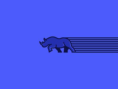 Rushing Rhino - Monoline illustration vector beast movement action speed emblem sigil horn monoline animal icon line logo simple symbol charge mark rhino grid