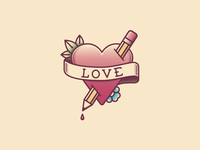 Lovely Tattoo mom heart stab simple illustration vector pen tool leaf pen vintage love airbrush flower jerry sailor pencil tattoo scroll banner stipple