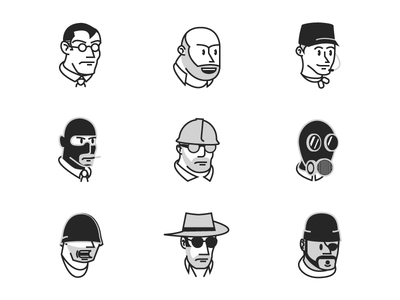 1930s TF2 Avatars character pyro sniper soldier engineer demo medic spy tf2 cuphead team fortress 2 cartoon pie eye vintage classic overwatch gaben valve avatars
