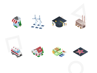 Isometric Industry Icons cash people star money house ambulance warehouse hat education power solar store