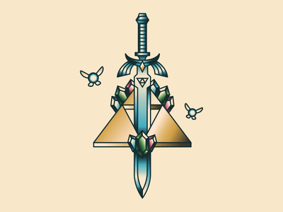 Master Sword Flash Style wild breath princess gems emblem sigil vector illustration flash nintendo stipple sailor jerry rupee rupees triforce sword fairy ganon link zelda