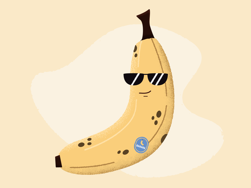 🍌 Banana 1600 🍌 peel smile food character cute cool fruit sunglasses chiquita shades banana texture cartoon simple illustration vector