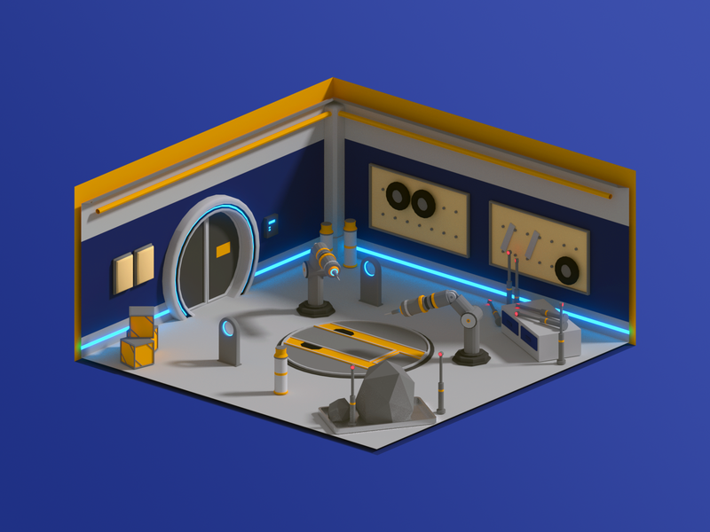 Low Poly Garage Cutaway workshop tire station space shadow rock robot polygon modeling low poly lighting isometric hatch glow garage door crate blender arm 3d