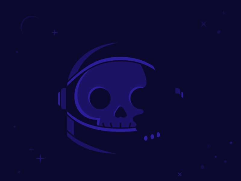 Vectober: No One Can Hear Me Scream october halloween shapes geometric dramatic lighting cliche death simple logo clean monotone helmet stars space skeleton astronaut skull illustration vector