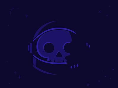 Vectober: No One Can Hear Me Scream october halloween shapes geometric dramatic lighting cliche death simple logo clean monotone helmet stars space skeleton astronaut skull illustration vector