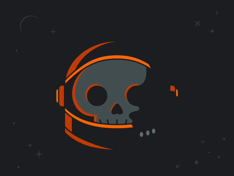 No One Can Hear Me Scream lighting geometric death dead helmet stars space astronaut skull spooky halloween october simple illustration vector stickermule