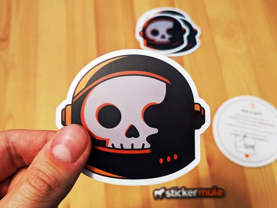 No One Can Hear Me Stick sticker mule vector sticker stickermule stars spooky space skull simple october lighting illustration helmet halloween geometric death dead astronaut