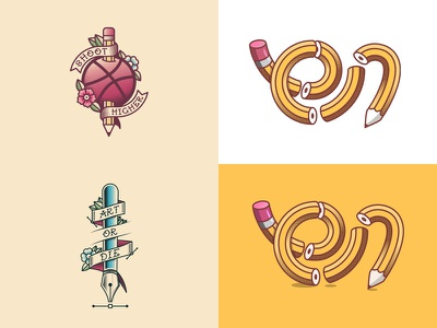 Top 4 of 2018 simple gradient cartoon illustration vector pen art or die halftone airbrush flowers basketball dribbble sailor jerry flash tattoo art pencils top 4
