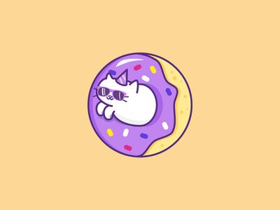 Donut Cat sprinkles donut party hat party cat sunglasses coaster line cartoon simple illustration vector