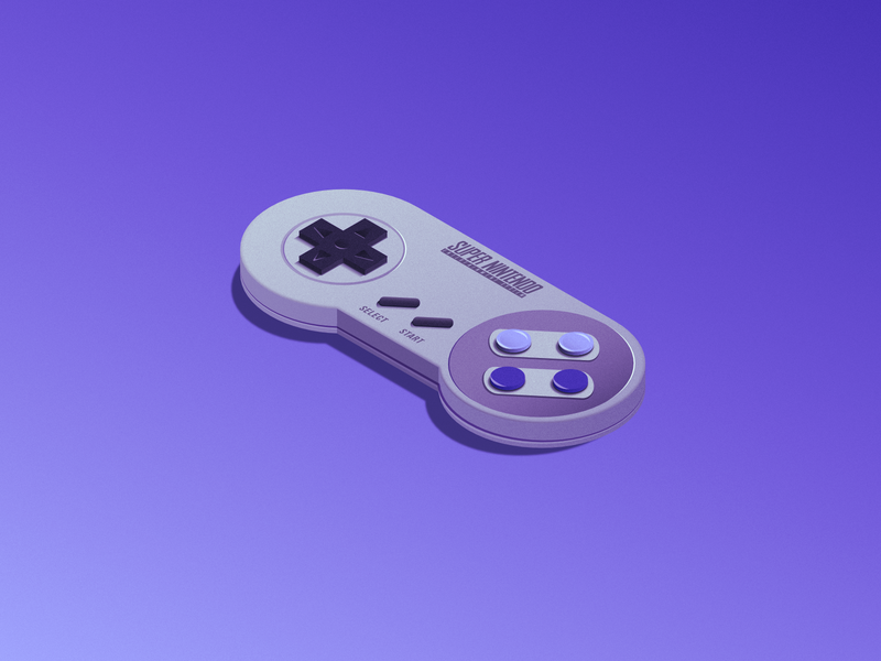 SNES - Now you're playing with power! Super power! famicom illustration mario noise controller isometric gradient gamecube gameboy wiiu wii nes switch 64 nintendo super snes affinity designer affinity 3d