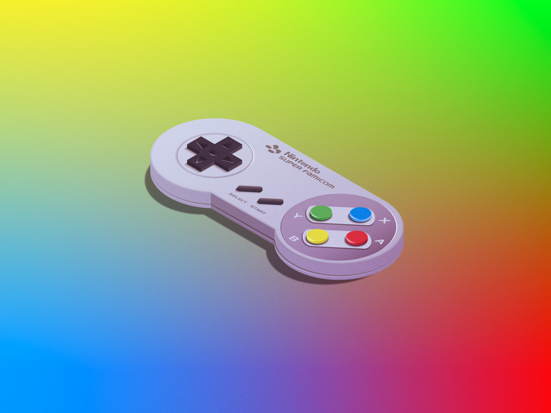 ✌️ スーパーファミコン Super Famicom! vector illustration nintendo controller isometric 3d gradient noise mario snes famicom super 64 affinity gameboy nes switch wii buttons japan