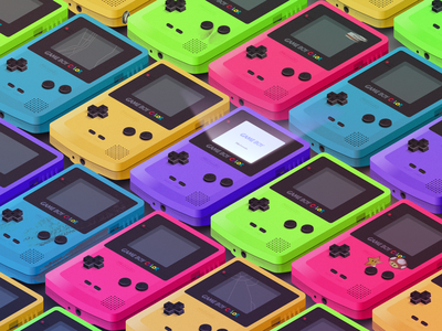 Gameboy Colors colorful distressed screen sticker vector switch snes noise nes mario isometric illustration gradient nintendo gameboy grunge controller affinity 3d games