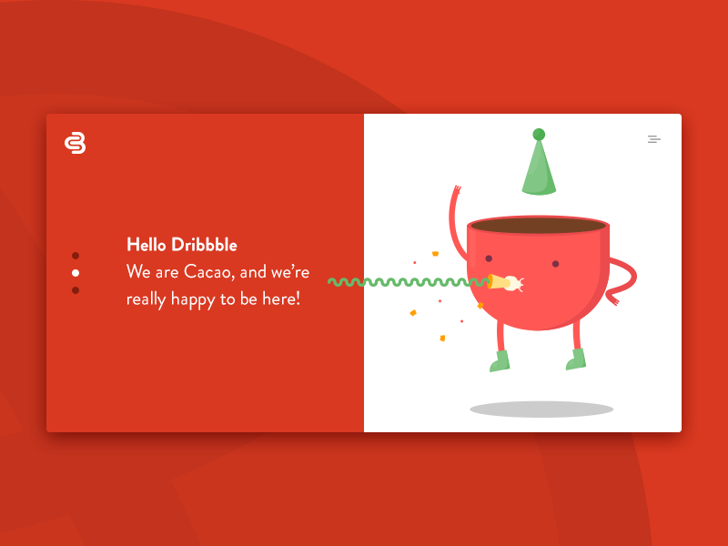 Hello Dribbble! happy slider cup illustration shot debut