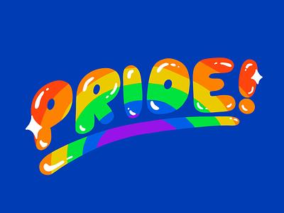 Pride! play type rainbow colors design lettering typography procreate pridemonth pride lgbtq lgbt illustration