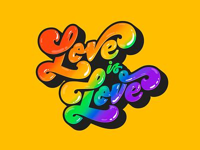 Loves is love design rainbow groovy typography lettering illustration procreate colors pride lgbtq lgbt lovewins loveislove love