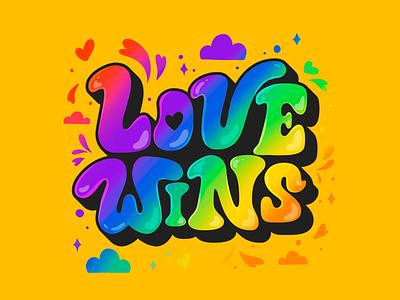Love Wins typogaphy type vector color queer proud bisexual transport lesbian gay power illustration gaypride colors lettering lgbtq lgbt lovewins love