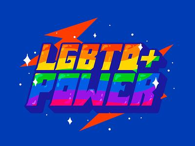 LGBTQ+ POWER! colors illustration design vector bisexual trans lesbian lovewins loveislove love lgbtqpower power lettering procreate typogaphy pride lgbt lgbtq