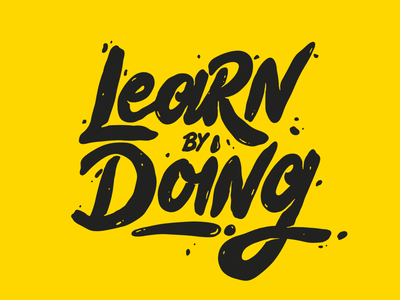Learn by doing yellow typography alme learnbydoing doing learning learn illustration design texture procreate type lettering