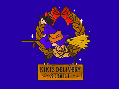 Kiki's Delivery Service witch lettering anime character design character art procreate art illustration procreate sign kiki studio ghibli kikis delivery service