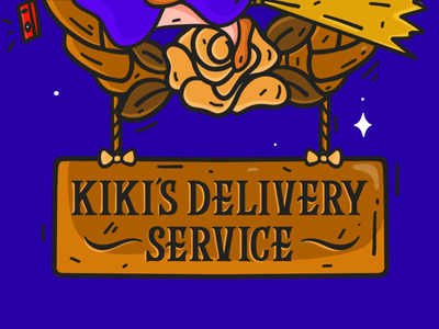 Kiki's Delivery Service Sign witchy witch art illustratrion illustrations type typography lettering procreate wood typogaphy studio ghibli kikis delivery service kiki illustration design