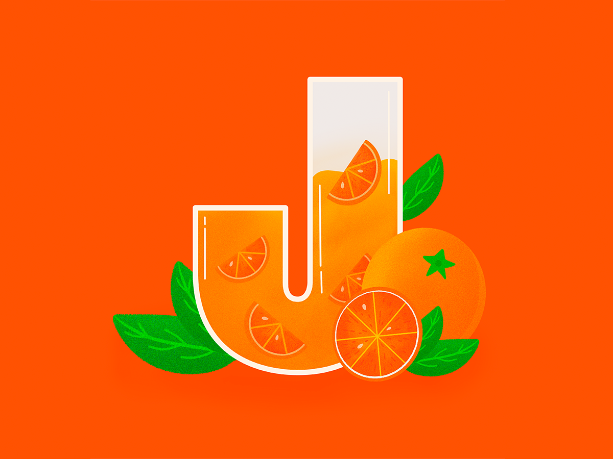 J 36daysoftype j design lettering type noise orange juice texture procreate illustration orange juice