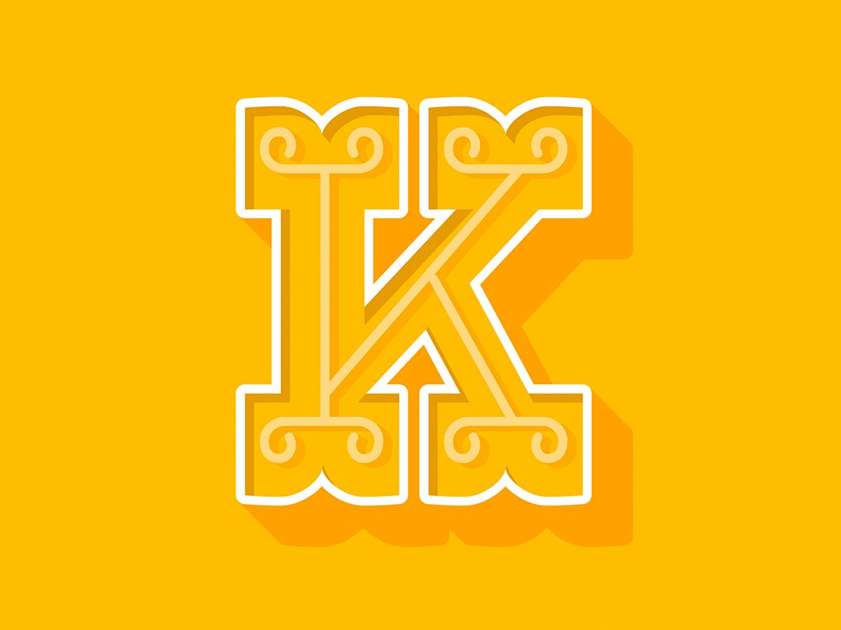 K yellow illustration illustrator vector design lettering type typography country ornament vintage k