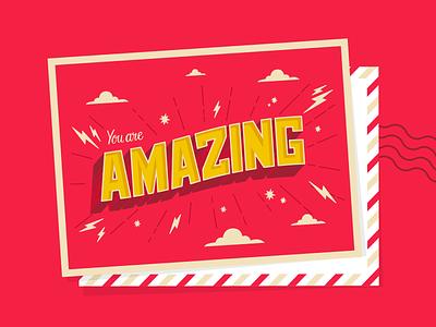 Amazing letter pink postcard design illustrator postcard amazing vector procreate typography lettering type illustration design