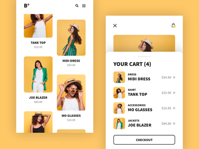 Ecommerce cart checkout style store simple shop product oragne mobile clothing